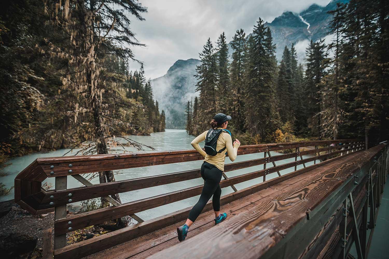 Running across bridge near Valemount